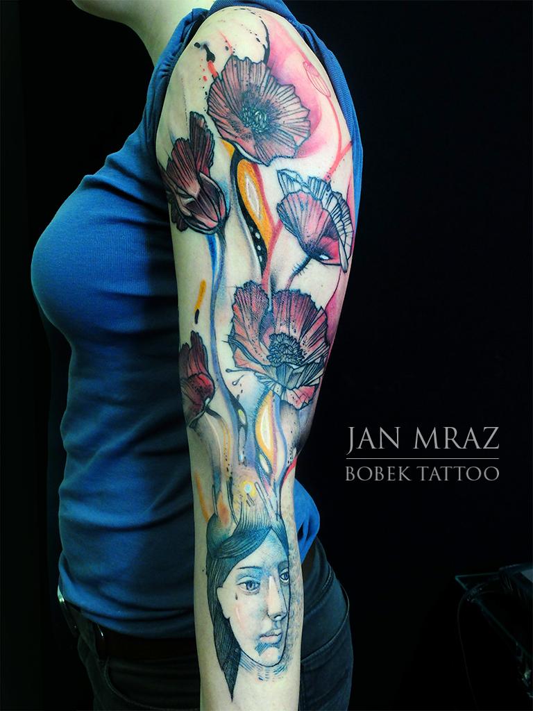 Poppy Head Flower tattoo by Jan Mràz