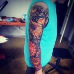 Primitive Phoenix tattoo sleeve