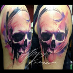 Purple Skull Aquarelle tattoo by Adam Kremer