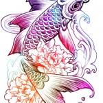 Rainbow Fish tattoo sketch