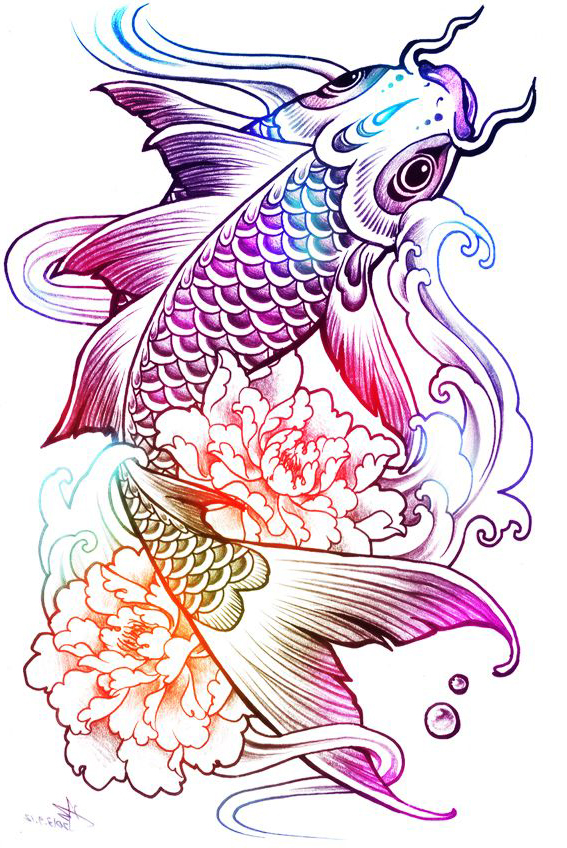 Rainbow Fish tattoo sketch