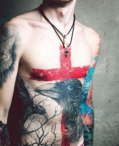 Raven Trash Polka tattoo on Belly