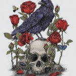Raven and Roses Skull tattoo idea