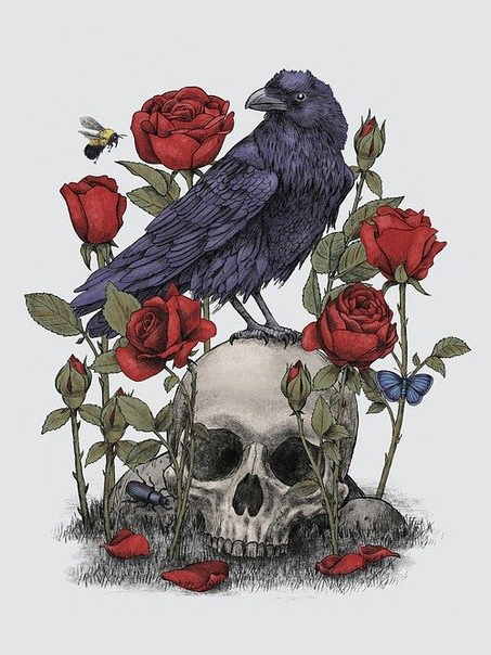 Raven and Roses Scull tattoo idea