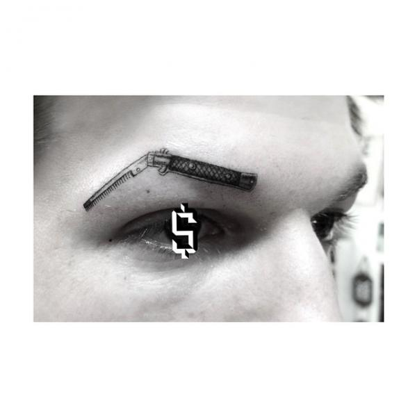 Razor Hairbrush Eyebrow tattoo by Dr Woo
