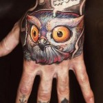 Razor Owl New School tattoo idea on hand
