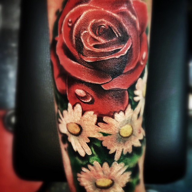 Real Painting Rose tattoo