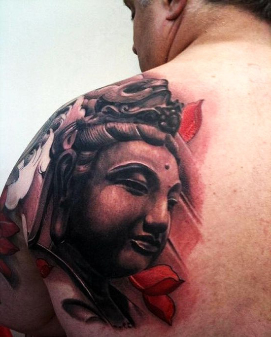 Realistic Buddha Religious tattoo on Shoulder