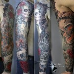Realistic Chicano Skull and Girls tattoo sleeve