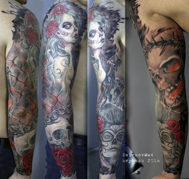 Realistic Chicano Scull And Girls Tattoo Sleeve