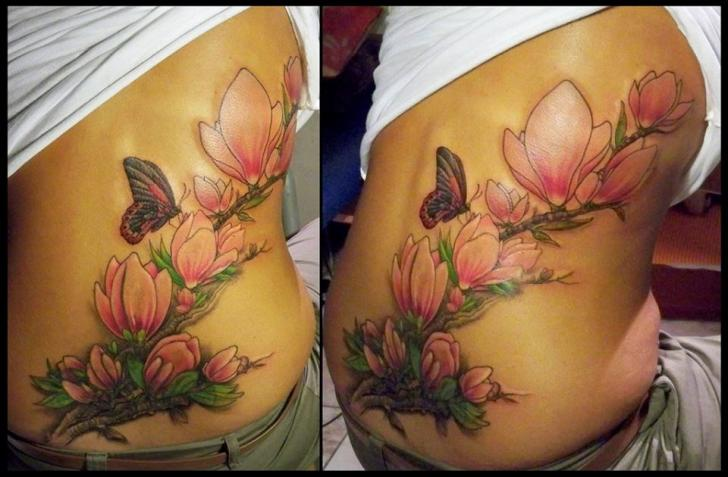 Realistic Flower Tattoos On The Right Forearm Tattoo: Realistic Flower Brunch Butterfly Tattoo By White Rabbit