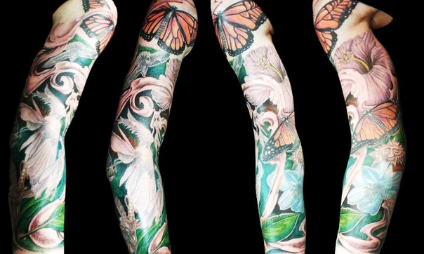 Realistic Flowers and Red Wing Butterfly tattoo sleeve
