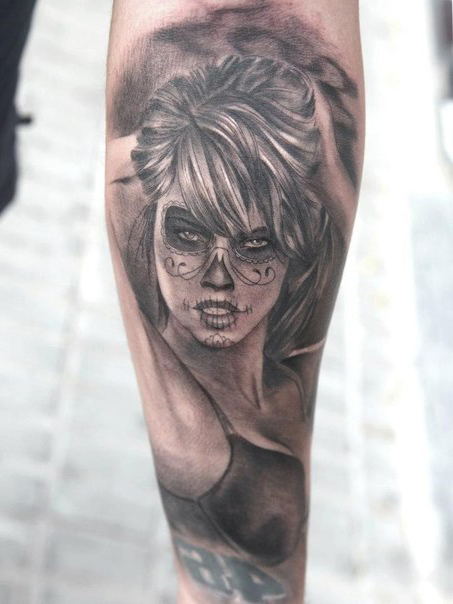 Realistic Girl Chicano tattoo
