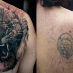 Realistic Growling Lion Cover Up tattoo design
