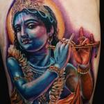 Realistic Krishna Religious tattoo