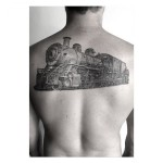 Realistic Locomotive tattoo on Back by Dr Woo