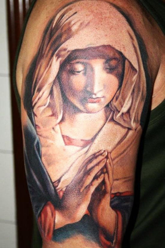 Realistic Nun Religious tattoo