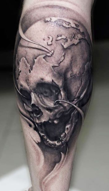 Realistic Planet Imitation Scull tattoo