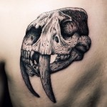 Realistic Saber-Toothed Tiger Graphic tattoo idea