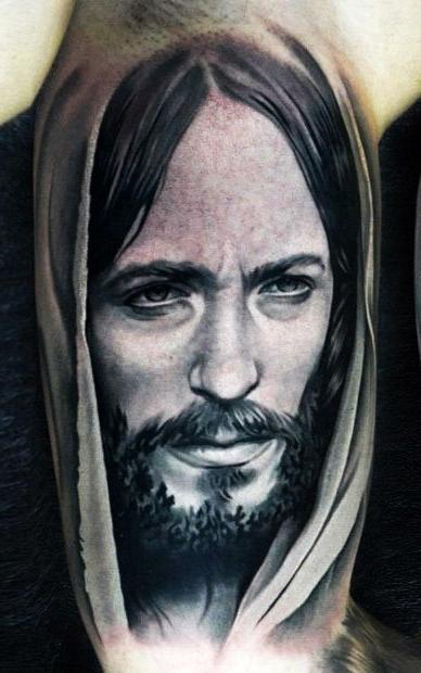 Realistic Serious Jesus Religious tattoo