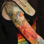 Realistic Titmouse tattoo sleeve