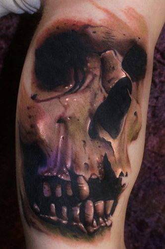 Realistic-Toothless-Scull-tattoo