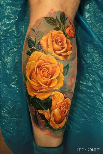 Realistic Yellow Roses tattoo by Led Coult