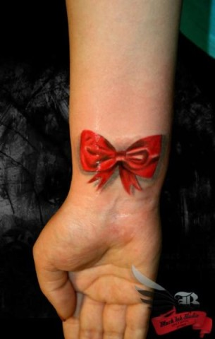 Red Bow-tie 3D tattoo by Black Ink Studio