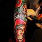 Red Hood Death Skull tattoo sleeve