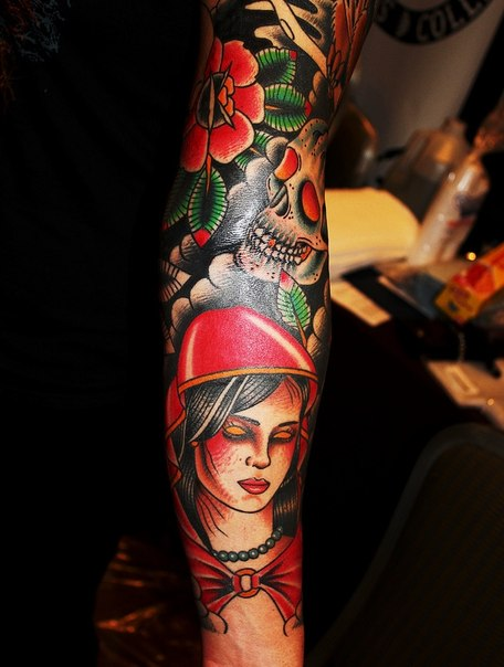 Red Hood Death Scull tattoo sleeve