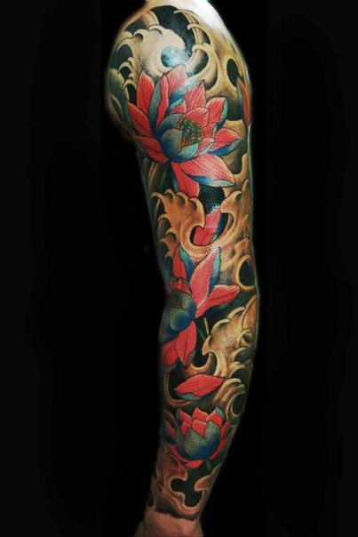 red lotus flower japanese tattoo sleeve best tattoo ideas gallery. Black Bedroom Furniture Sets. Home Design Ideas