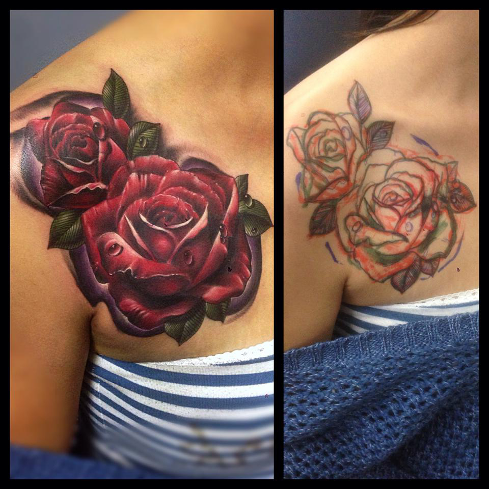 Red roses cover up flower tattoo best tattoo ideas gallery