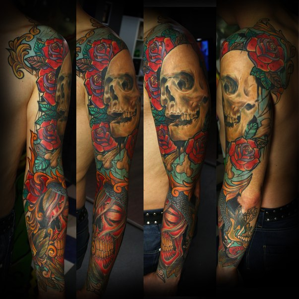 Red Sleeping Scull and Real Scull tattoo sleeve