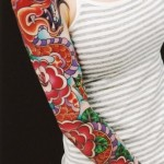 Red Snake Roses tattoo sleeve