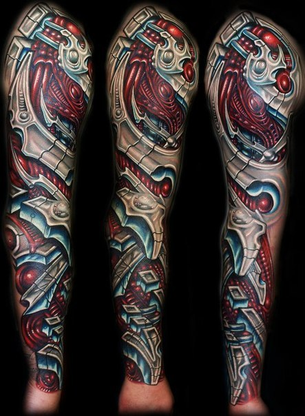 Red Wires Biomechanical tattoo sleeve