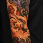 Ride a Cloud Violet Demon tattoo sleeve