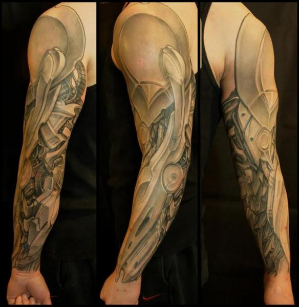 Robotic Armor by Biomechanical tattoo sleeve White Rabbit Tattoo