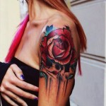 Rose Flower New School tattoo idea for Girl
