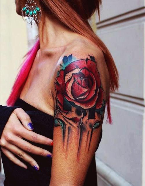 Rose Flower New School tattoo idea for Girl