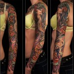 Rose Hair Girl tattoo sleeve