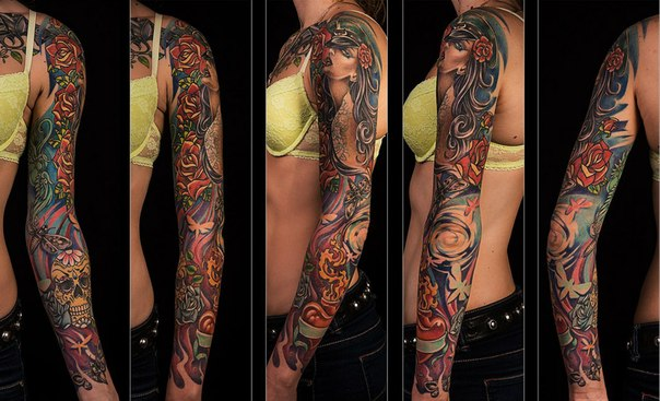 Rose Hair Girl tattoo sleeve