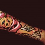 Rose Pumpkin New School tattoo Sleeve