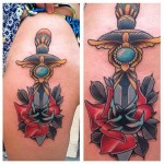 Rose Sword New School tattoo by Last Angels Tattoo