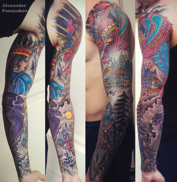 Russian Fairy Tail tattoo sleeve