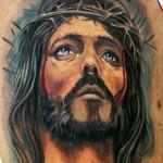 Sad Jesus Realistic Religious tattoo