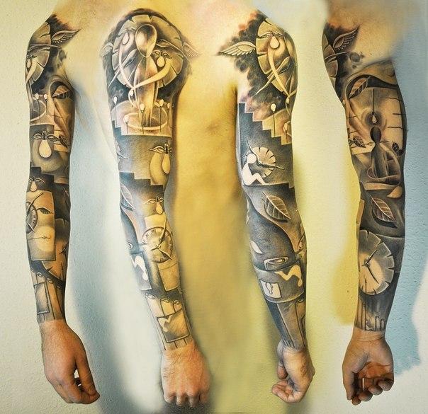 Sad Life Graphic tattoo sleeve by Dmitri Katsan
