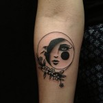Sad Moon tattoo on Hand by Hidden Moon Tattoo