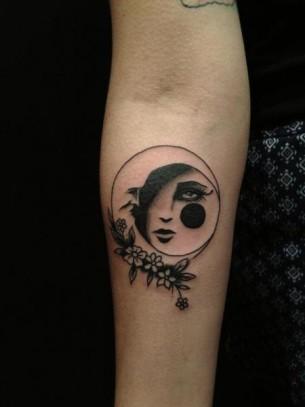 Sad Moon tattoo on Hand by Hidden Moon Tattoo