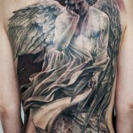 Sad angel Graphic Religious tattoo