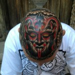 Satyr Mask head tattoo design